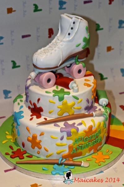 Torta-Rainbow-roller-skate